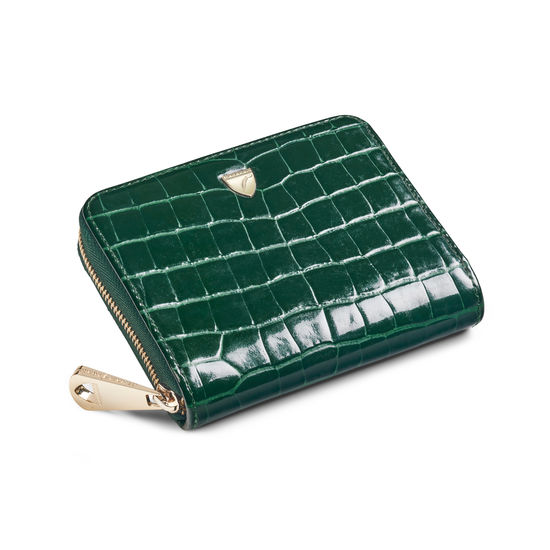 Slim Mini Continental Purse in Evergreen Patent Croc from Aspinal of London
