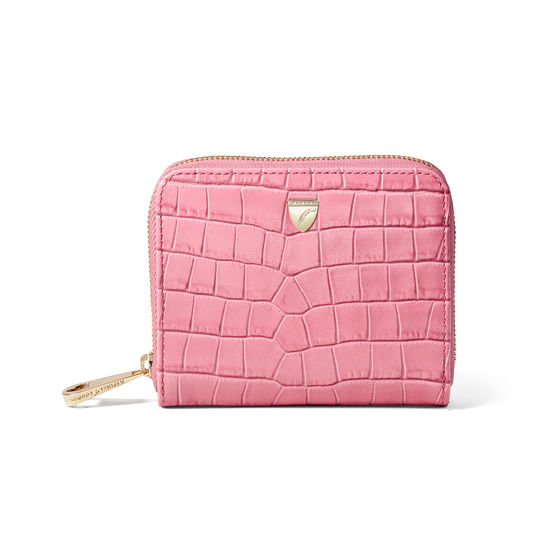 Slim Mini Continental Purse in Deep Shine Tea Rose Small Croc from Aspinal of London