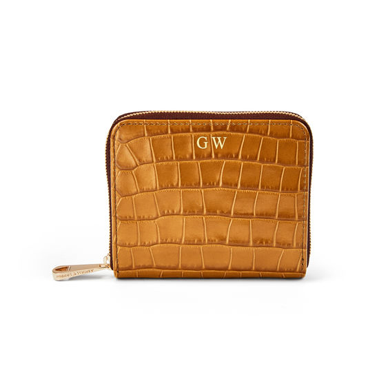 Slim Mini Continental Purse in Deep Shine Vintage Tan Small Croc from Aspinal of London