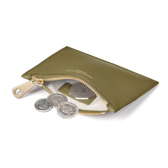 Small Essential Flat Pouch in Olive Pebble from Aspinal of London