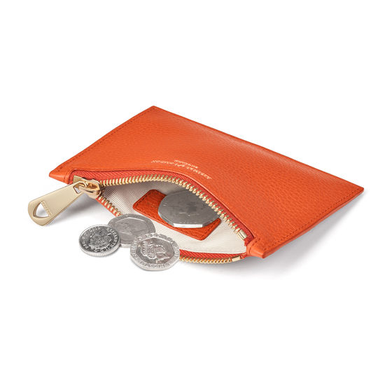 Small Essential Flat Pouch in Marmalade Pebble from Aspinal of London