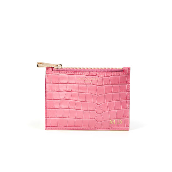 Small Essential Flat Pouch in Deep Shine Tea Rose Small Croc from Aspinal of London