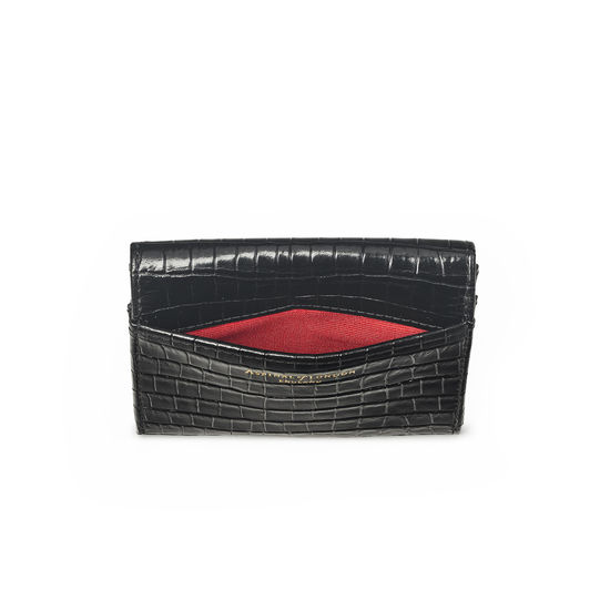 Small Mayfair Purse in Deep Shine Black Small Croc from Aspinal of London