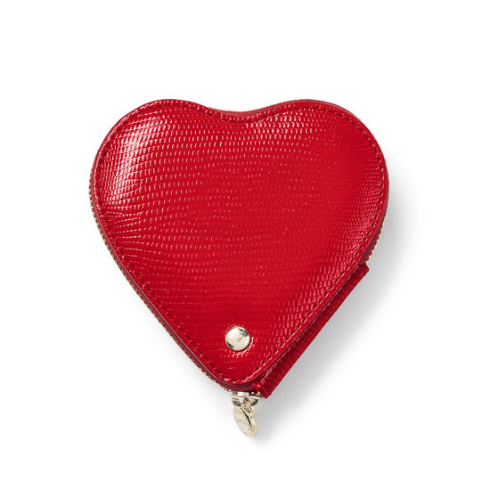Heart Coin Purse in Scarlet Silk Lizard from Aspinal of London