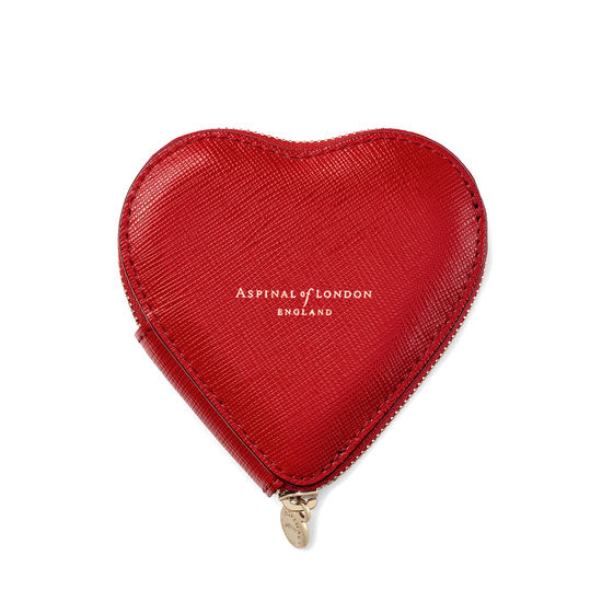 Heart Coin Purse in Scarlet Saffiano from Aspinal of London