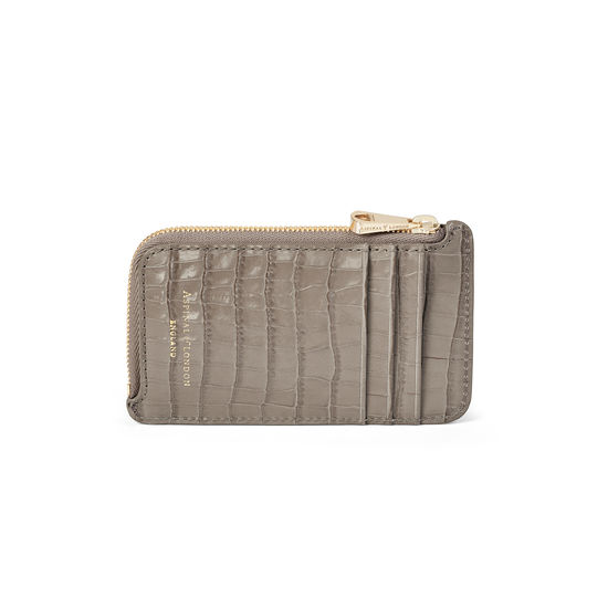 Zipped Coin & Card Holder in Deep Shine Warm Grey Small Croc from Aspinal of London