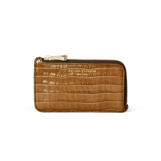 Zipped Coin & Card Holder in Deep Shine Vintage Tan Small Croc from Aspinal of London