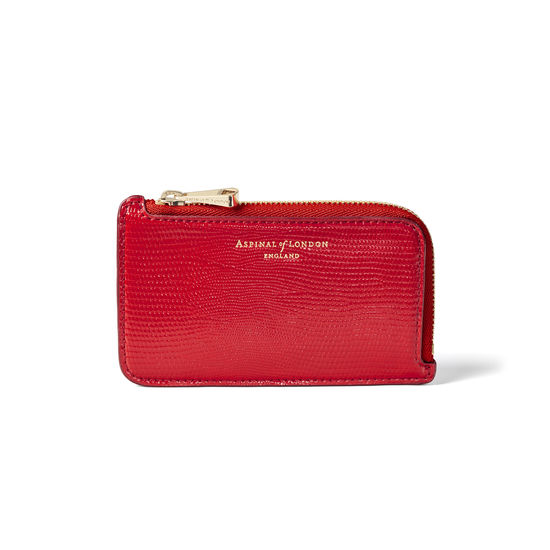 Zipped Coin & Card Holder in Scarlet Silk Lizard from Aspinal of London