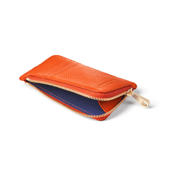 Zipped Coin & Card Holder in Marmalade Pebble from Aspinal of London