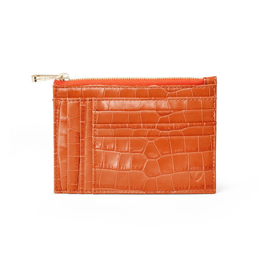 Double Sided Zipped Card & Coin Holder in Deep Shine Marmalade Small Croc from Aspinal of London