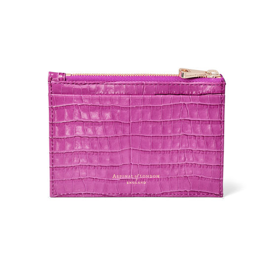 Double Sided Zipped Card & Coin Holder in Deep Shine Hibiscus Small Croc from Aspinal of London