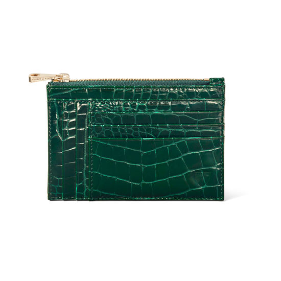 Double Sided Zipped Card & Coin Holder in Evergreen Patent Croc from Aspinal of London