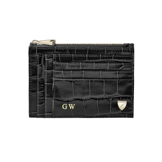 Double Sided Zipped Card & Coin Holder in Deep Shine Black Croc from Aspinal of London