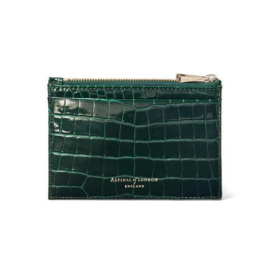 Double Sided Zipped Card & Coin Holder in Evergreen Small Croc from Aspinal of London