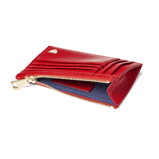 Double Sided Zipped Card & Coin Holder in Scarlet Silk Lizard from Aspinal of London