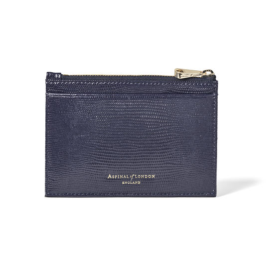Double Sided Zipped Card & Coin Holder in Midnight Blue Silk Lizard from Aspinal of London