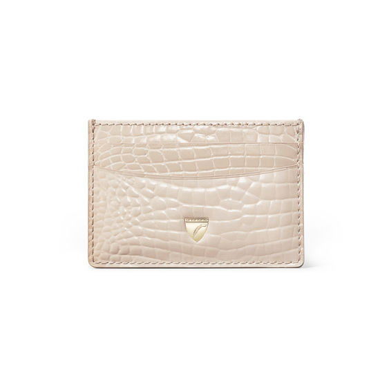 Slim Credit Card Holder in Soft Taupe Patent Croc from Aspinal of London