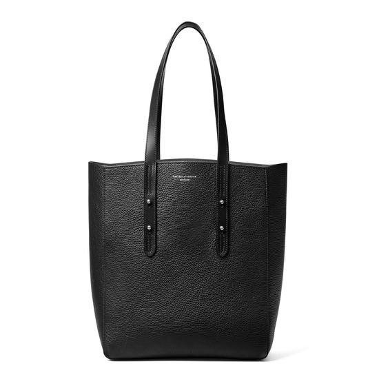Essential Tote in Black Pebble from Aspinal of London