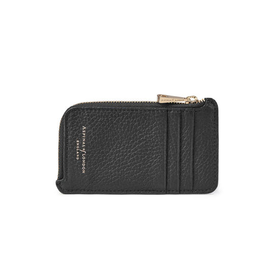 Zipped Coin & Card Holder in Black Pebble from Aspinal of London