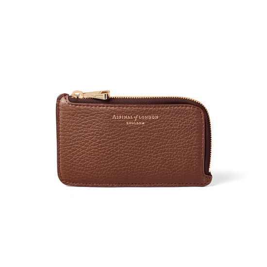 Zipped Coin & Card Holder in Chestnut Pebble from Aspinal of London