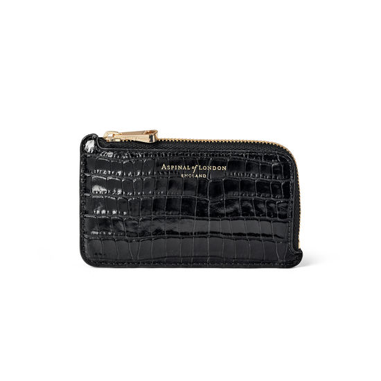 Zipped Coin & Card Holder in Deep Shine Black Small Croc from Aspinal of London