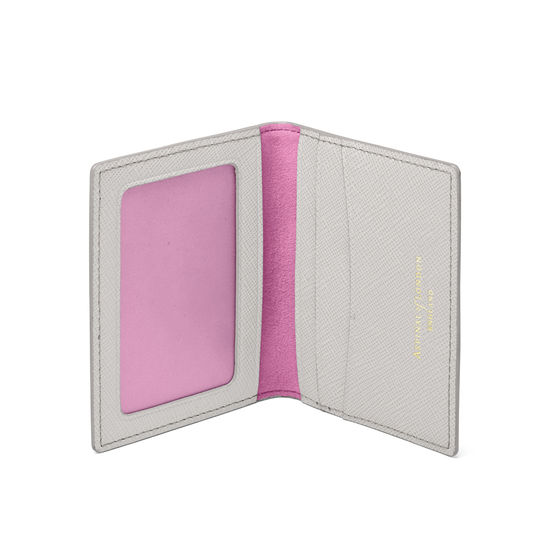 ID & Travel Card Holder in Light Grey Saffiano from Aspinal of London