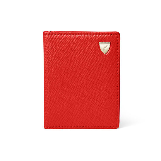 ID & Travel Card Holder in Scarlet Saffiano from Aspinal of London