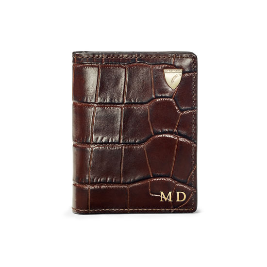 ID & Travel Card Holder in Deep Shine Amazon Brown Croc from Aspinal of London
