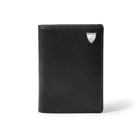 Business Card Holder in Smooth Black from Aspinal of London