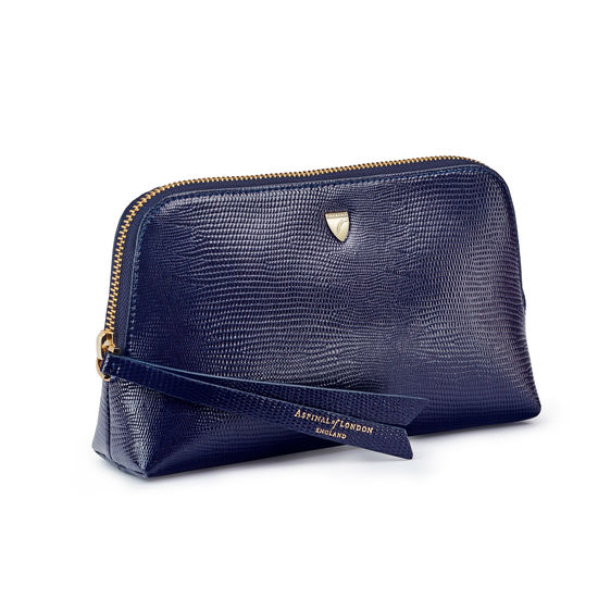 Small Essential Cosmetic Case in Midnight Blue Silk Lizard from Aspinal of London