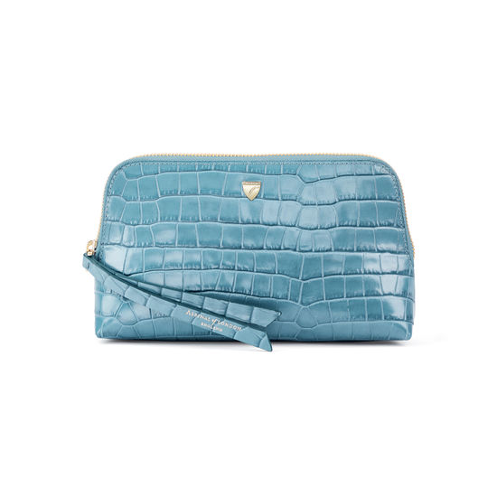 Small Essential Cosmetic Case in Deep Shine Cornflower Small Croc from Aspinal of London