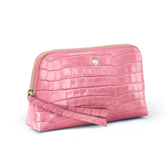 Small Essential Cosmetic Case in Deep Shine Tea Rose Small Croc from Aspinal of London