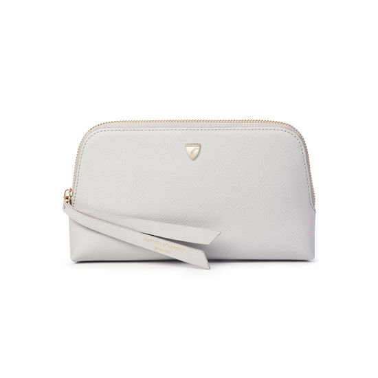 Small Essential Cosmetic Case in Light Grey Saffiano from Aspinal of London