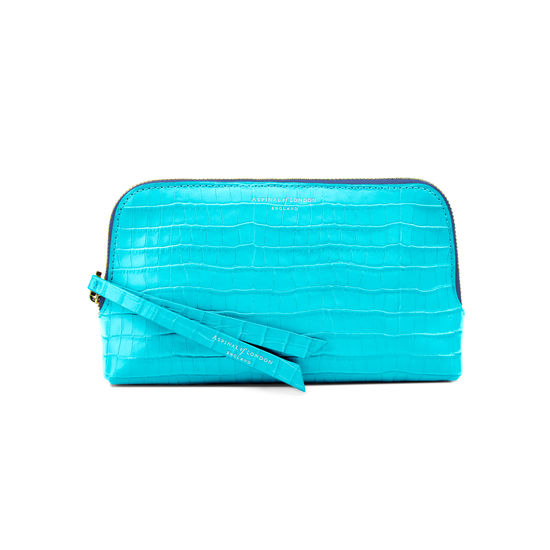 Small Essential Cosmetic Case in Deep Shine Aqua Small Croc from Aspinal of London