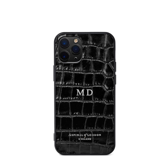 iPhone 12 Mini Case in Deep Shine Black Small Croc from Aspinal of London