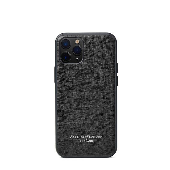 iPhone 12 Mini Case in Black Saffiano from Aspinal of London