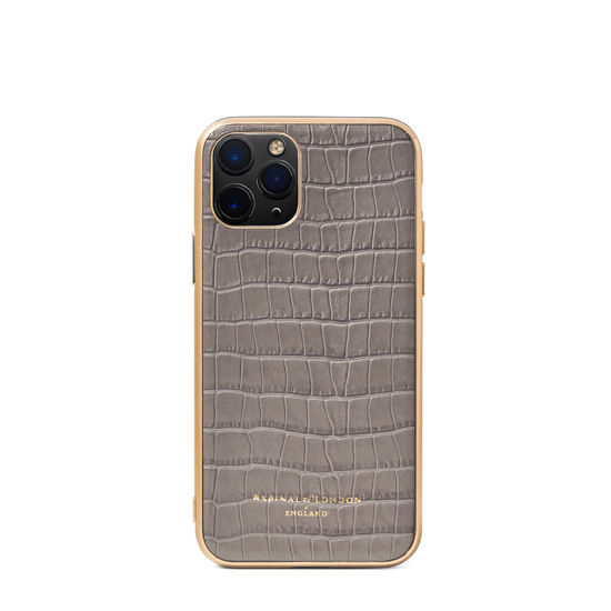 iPhone 12 Mini Case in Deep Shine Warm Grey Small Croc from Aspinal of London