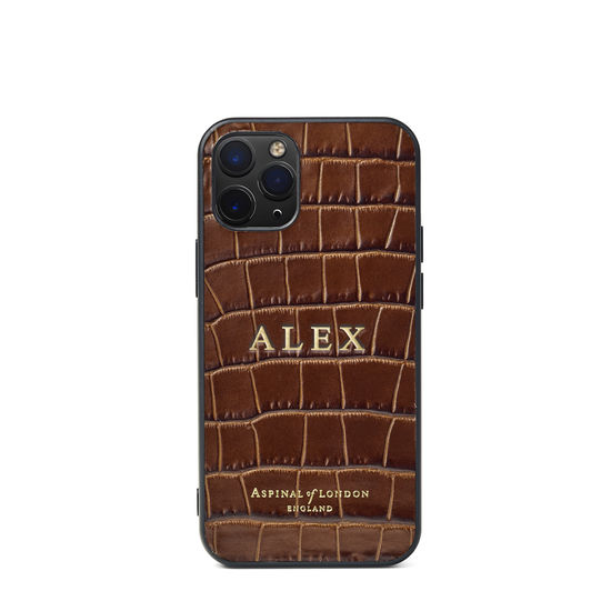 iPhone 12 Mini Case in Deep Shine Chestnut Small Croc from Aspinal of London