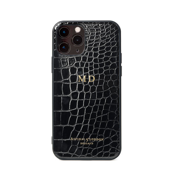 iPhone 12 / 12 Pro Case in Black Patent Croc from Aspinal of London