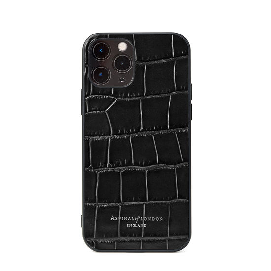 iPhone 12 / 12 Pro Case in Deep Shine Black Croc from Aspinal of London