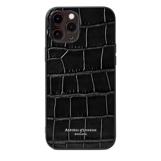 iPhone 12 Pro Max Case in Black Croc from Aspinal of London