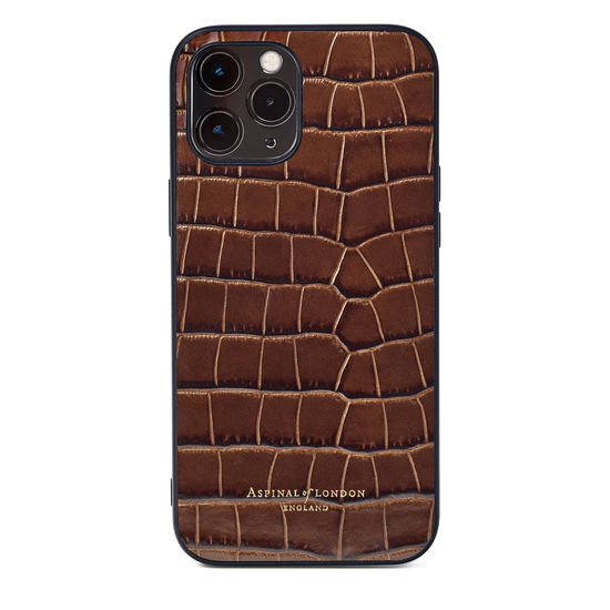 iPhone 12 Pro Max Case in Deep Shine Chestnut Small Croc from Aspinal of London