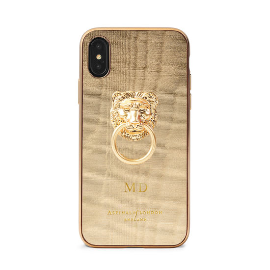 Lion iPhone Xs Case in Gold Moire Print from Aspinal of London