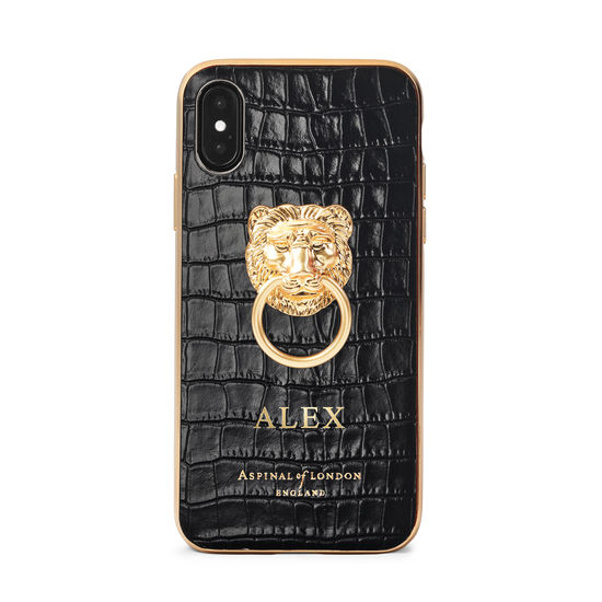 Lion iPhone Xs Case in Deep Shine Black Small Croc from Aspinal of London
