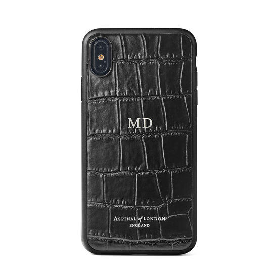 iPhone Xs Case with Black Edge in Deep Shine Black Croc from Aspinal of London