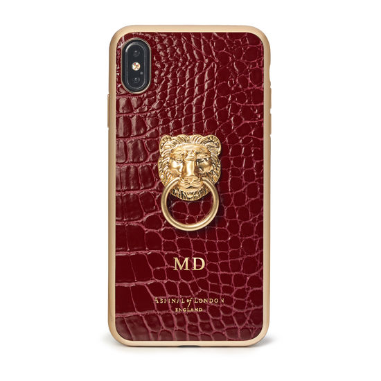 Lion iPhone Xs Max Case in Bordeaux Patent Croc from Aspinal of London