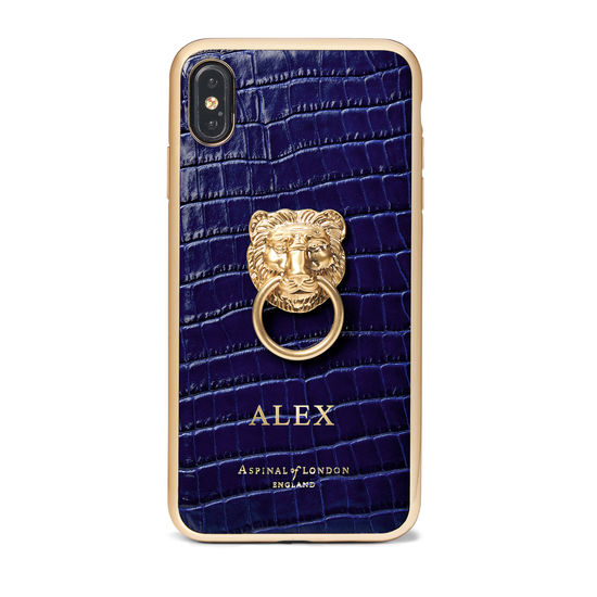 Lion iPhone Xs Max Case in Deep Shine Midnight Blue Small Croc from Aspinal of London