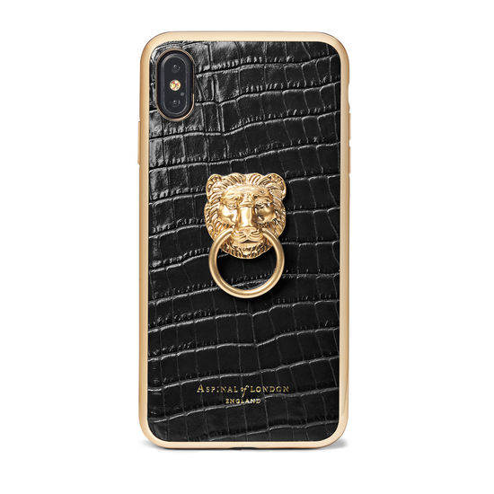 Lion iPhone Xs Max Case in Deep Shine Black Small Croc from Aspinal of London