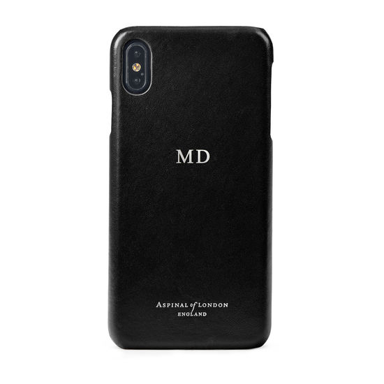 iPhone Xs Max Case in Smooth Black from Aspinal of London