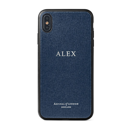 iPhone Xs Max Case with Black Edge in Navy Saffiano from Aspinal of London